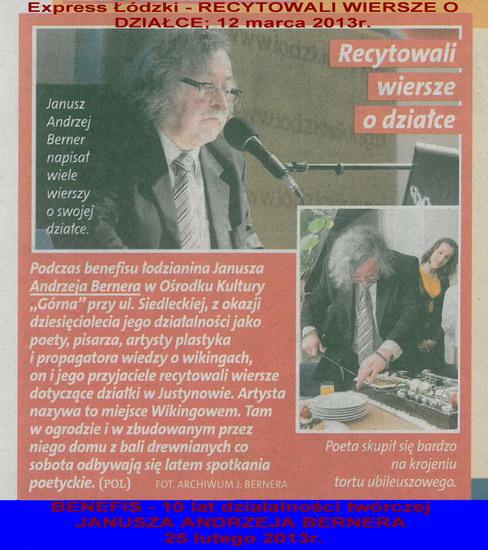 44. Express Łódzki - RECYTOWALI WIERSZE O DZIAŁCE     12 marca 2013r.